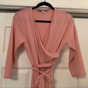 PinkBlush Maternity-Nursing wrap dress- Maxi